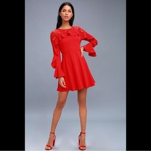 LULUS | Kiss Red Lace Long Sleeve Dress